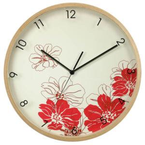 horloge murale en bois - motif coquelicots-0