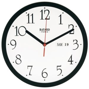 horloge murale avec date noire-0